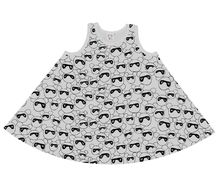 Beau LOves - Racer circle dress, masked bears, dove grey