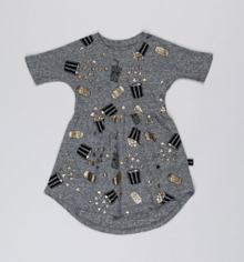 Huxbaby - Popcorn Swirl Dress, Charcoal Slub