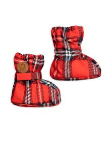 Alaska check baby boot, red