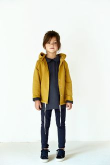 Gray label- Hooded cardigan with snaps, mustard