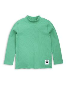 mini rodini - Solid rib ls turtle neck tee, green