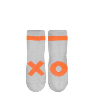 Beau LOves - Ankle socks, neon orange XO, dove grey