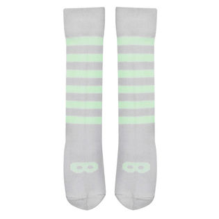 Beau LOves - Knee high socks, pale lime mask, dove grey