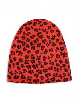mini rodini - Leopard rib beanie, red