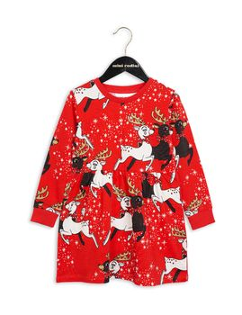 mini rodini - Reindeer dress, red