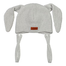 METSOLA - Knitted Bunny beanie, Silver Mist