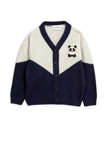 Mini Rodini - Panda knitted wool cardigan, Blue