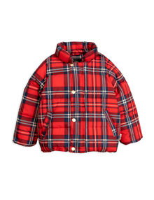 Mini Rodini - Check puffer jacket, red