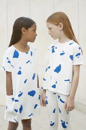 Tinycottons - Cut outs oversized tee, off white/blue
