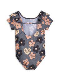 mini rodini - Flower SS swimsuit, grey