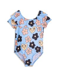 mini rodini - Flower SS swimsuit, lt blue