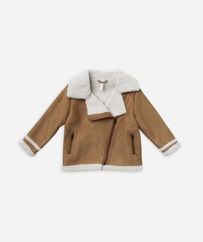 Rylee + Cru - Suede biker jacket, Saddle