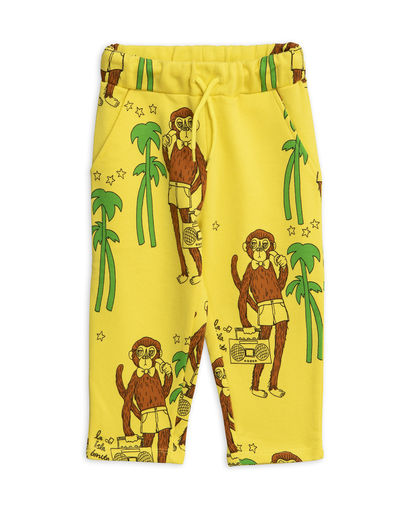 Mini Rodini - Cool monkeys aop sweatpants, Yellow