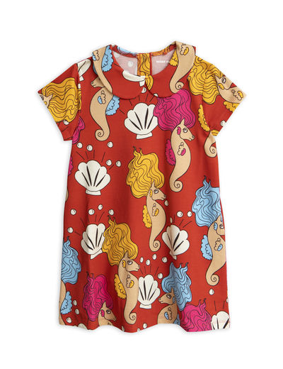 Mini Rodini - Seahorse collar ss dress, Red