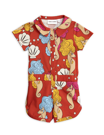 Mini Rodini - Seahorse summersuit, Red