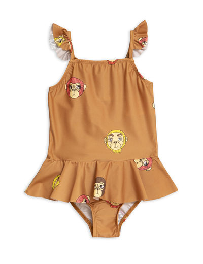 Mini Rodini -  Monkey skirt swimsuit (UPF 50+), Brown