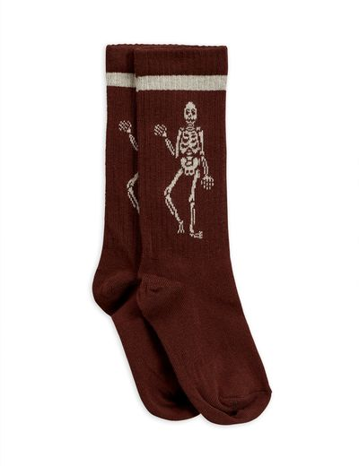 Mini Rodini - Skeleton knee sock, brown