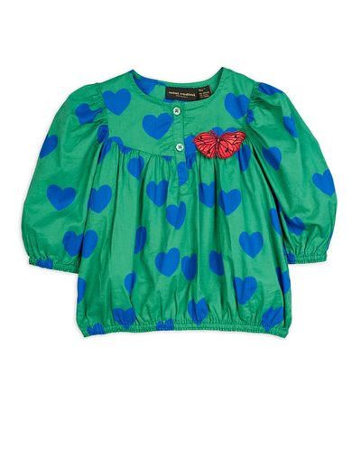 Mini Rodini - Hearts woven blouse, Green