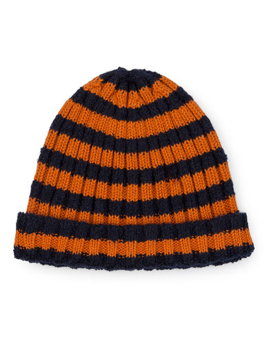 Bobo Choses - Orange Striped Beanie, Medieval Blue / baby