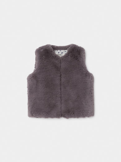 Bobo Choses - Grey Baby Faux Fur Vest, Baby (219241)