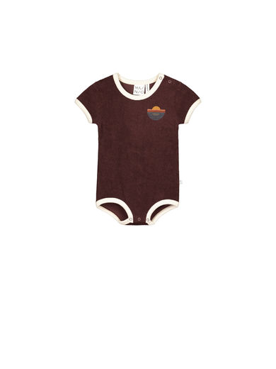 Mainio - Crew terry bodysuit, Raisin (50013)