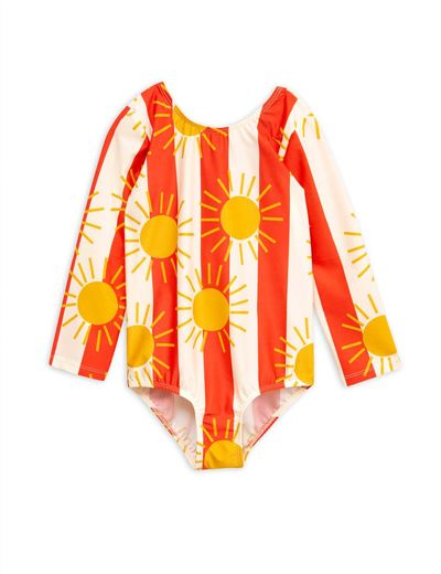 Mini Rodini - Sun stripe ls swimsuit, Offwhite