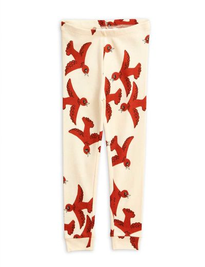 Mini Rodini - Flying birds leggings, offwhite
