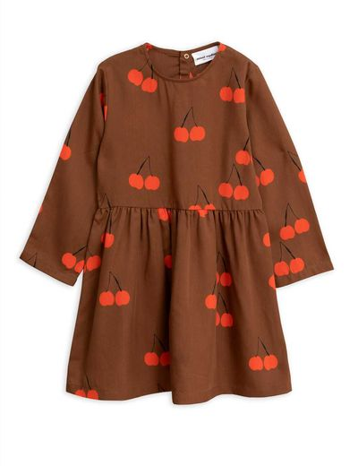 Mini Rodini - Cherry woven ls dress, Brown