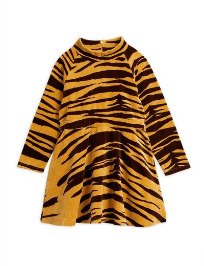 Mini Rodini - Tiger velour dress, brown