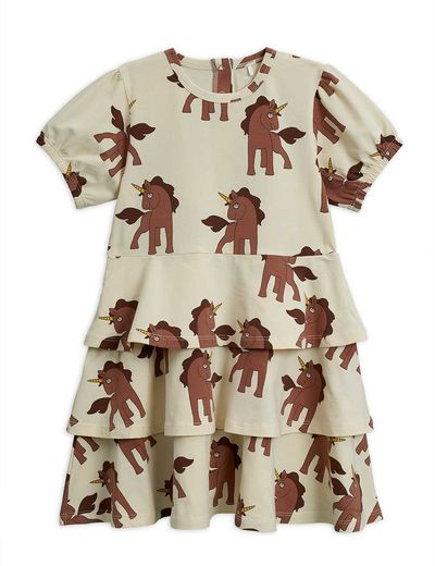 Mini Rodini - Unicorns aop ss dress, Offwhite