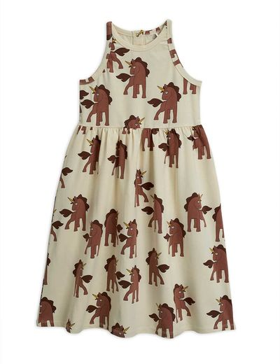 Mini Rodini - Unicorns aop tank dress, Offwhite