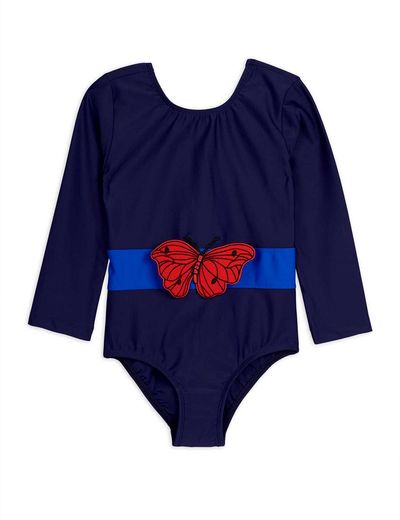 Mini Rodini - Butterfly ls swimsuit UPF 50+, Navy