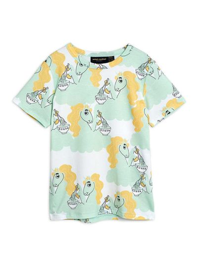 Mini Rodini - Unicorn noodles aop ss tee, Green