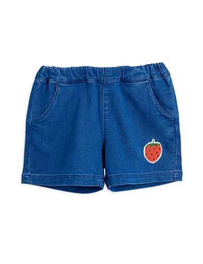 Mini Rodini - Denim strawberry shorts, Blue