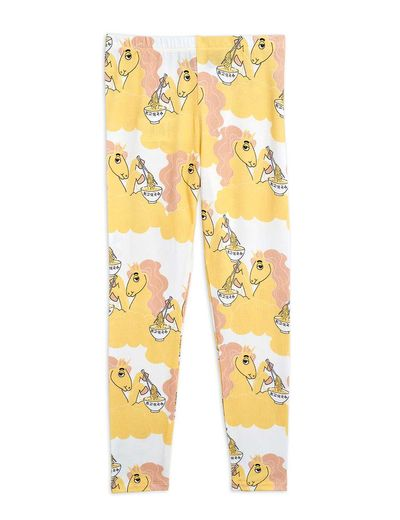 Mini Rodini - Unicorn noodles aop leggings, Yellow
