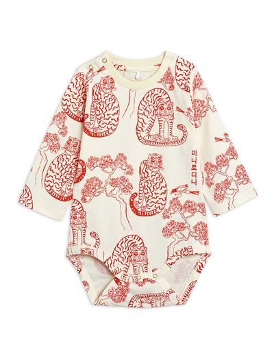 Mini Rodini - Tigers aop ls body, Offwhite