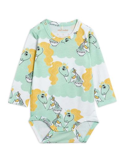 Mini Rodini - Unicorn noodles aop ls body, Green