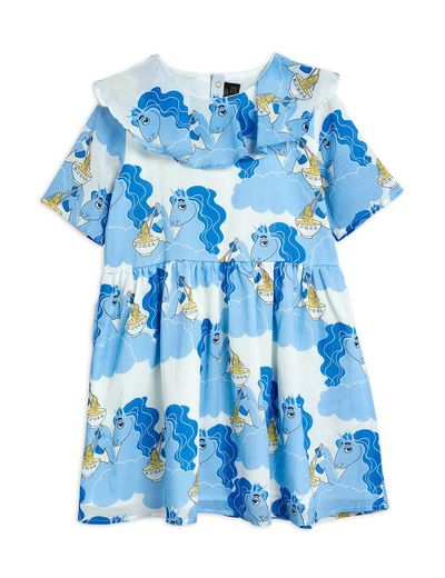 Mini Rodini - Unicorn noodles woven ss dress, Blue (2125010360)