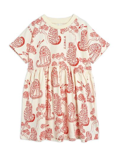 Mini Rodini - Tigers aop ss dress, Offwhite