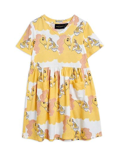Mini Rodini - Unicorn noodles aop ss dress, Yellow (2125013123)