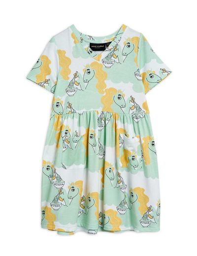 Mini Rodini - Unicorn noodles aop ss dress, Green (2125013175)