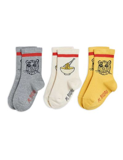 Mini Rodini - Tiger 3 pack socks, Multi