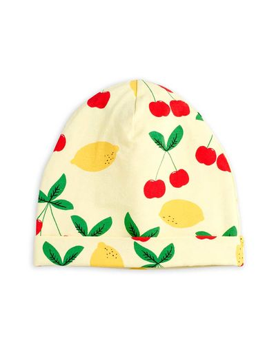 Mini Rodini - Cherry lemonade aop beanie, Yellow