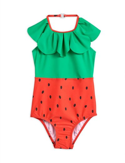 Mini Rodini - Strawberry halterneck swimsuit UPF 50+, Red