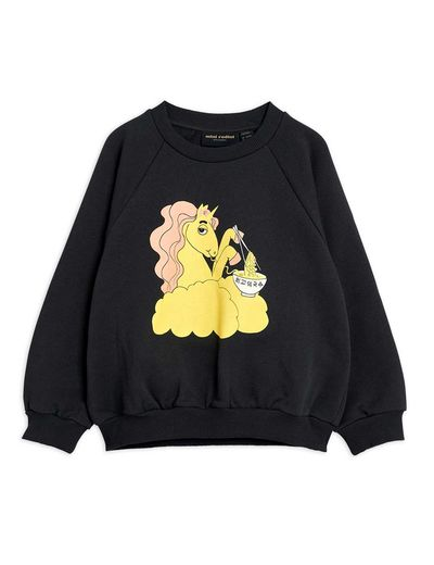 Mini Rodini - Unicorn noodles sp sweatshirt,  Black