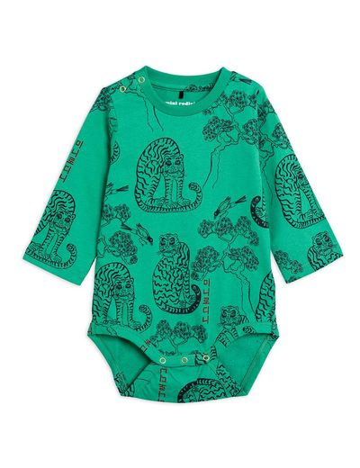 Mini Rodini - Tigers aop ls body, Green