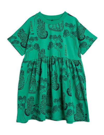Mini Rodini - Tigers aop ss dress, Green
