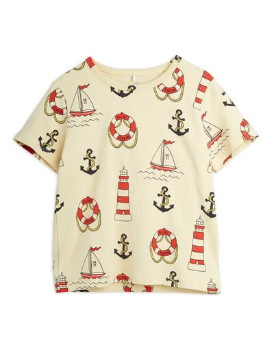 Mini Rodini - Lighthouse aop ss tee, Yellow