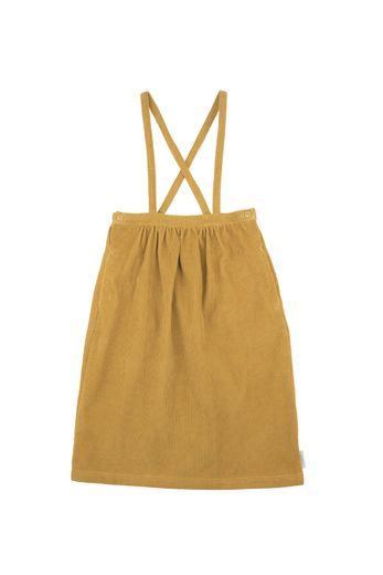 Tinycottons - Corduroy braces mid-lenght skirt, mustard