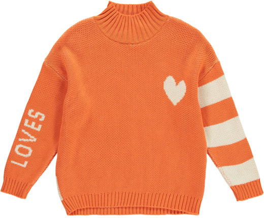 Beau LOves - Knit oversized sweater high neck Loves heart, orange/cream